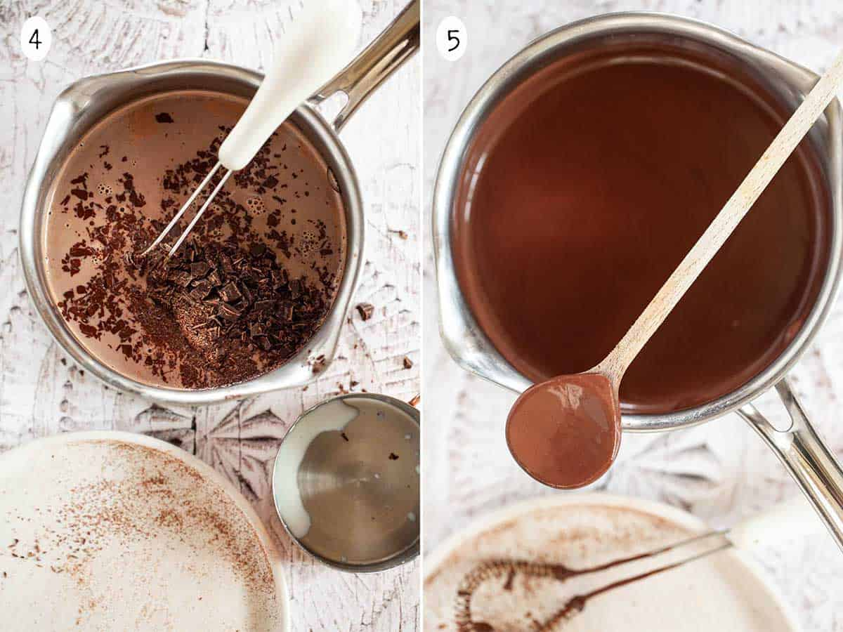 Collage of step by step images for making thick Italian hot chocolate