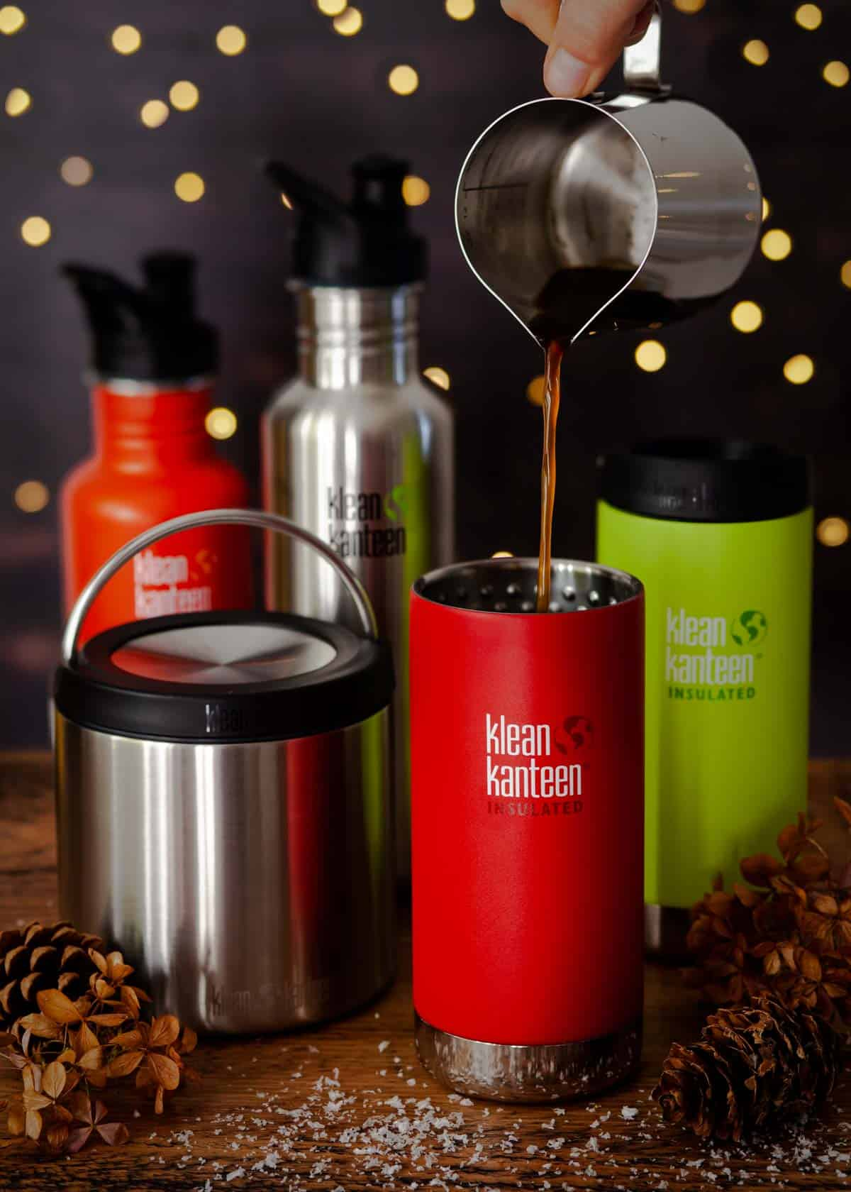 A collection of insulated drinks and food canisters