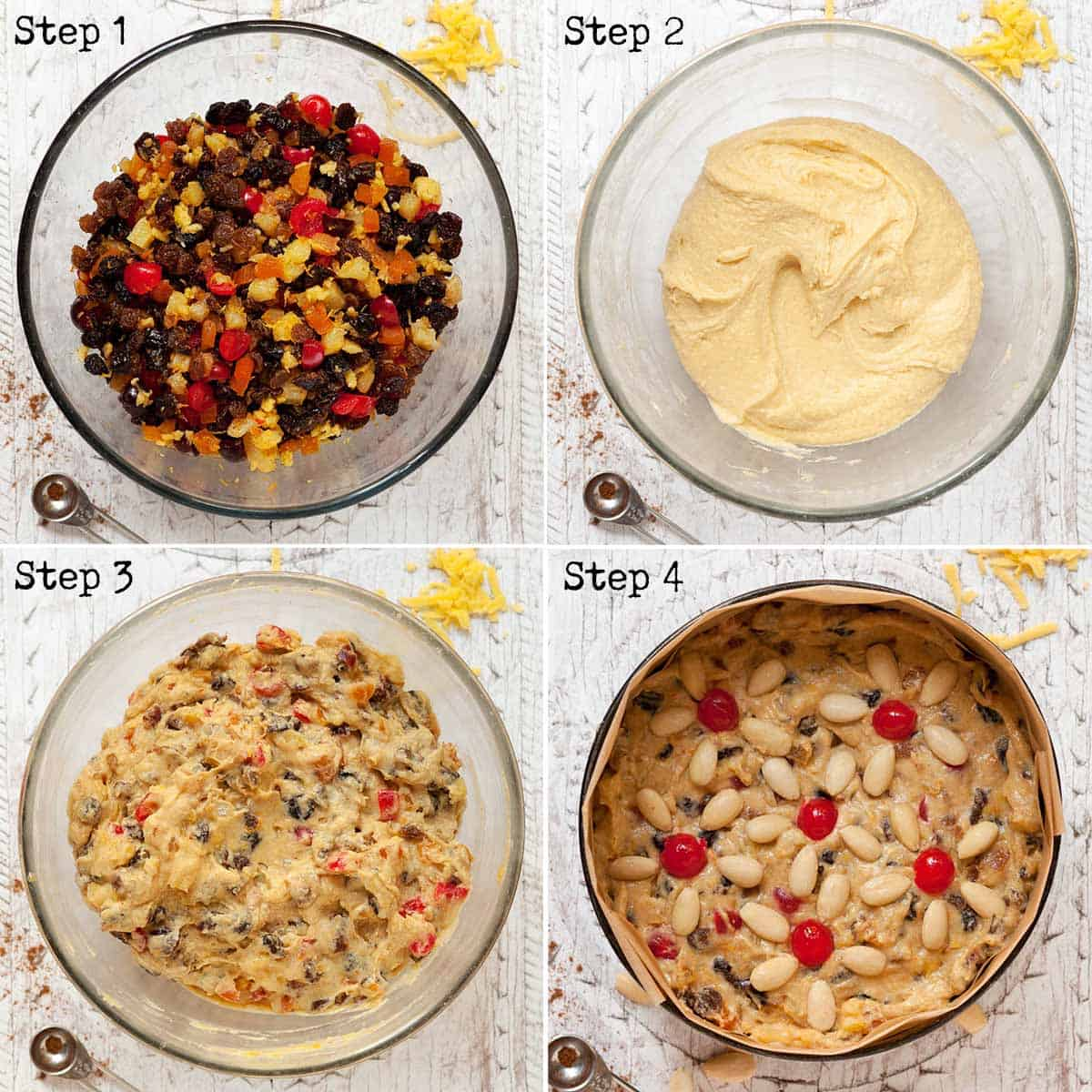 Collage of Step by step images for making a fruit cake
