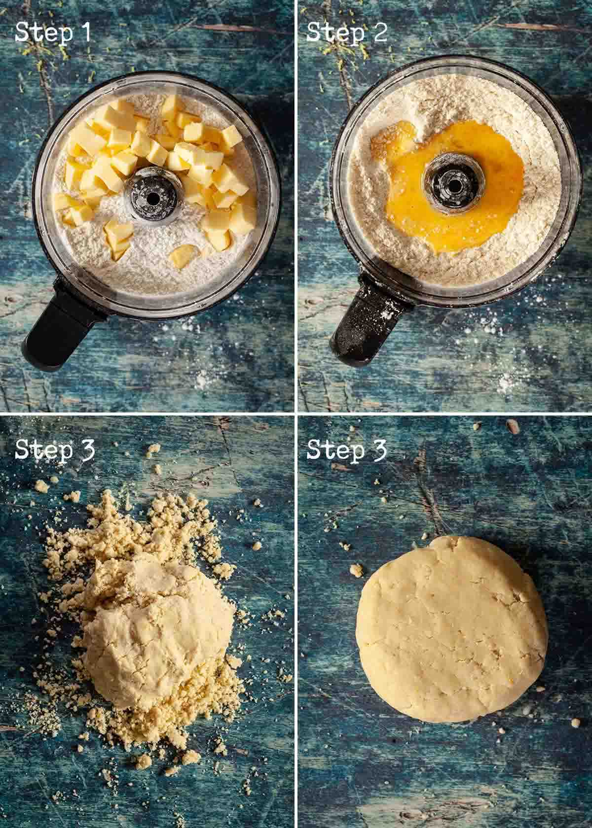 Collage of step by step images for making lemon shortbread cookies