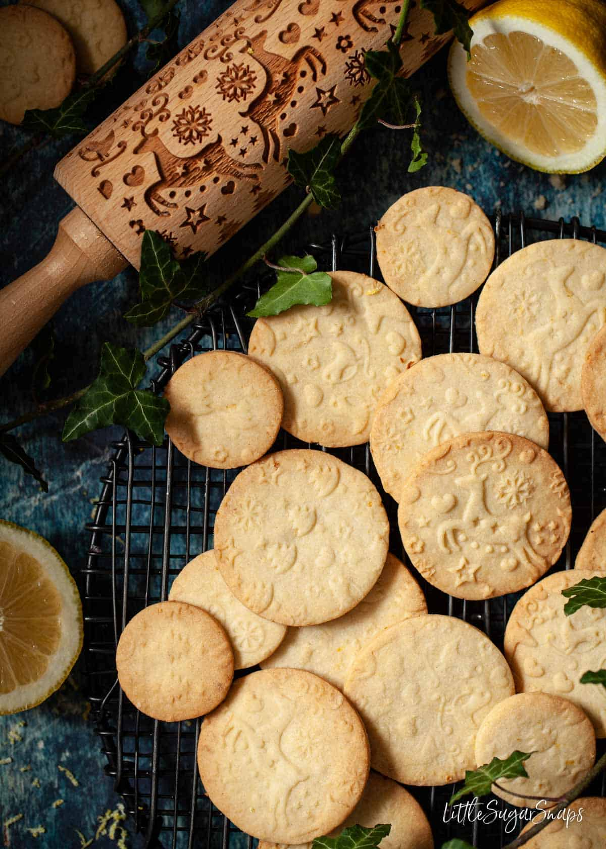 Lemon shortbread cookies with an embossed rolling pin