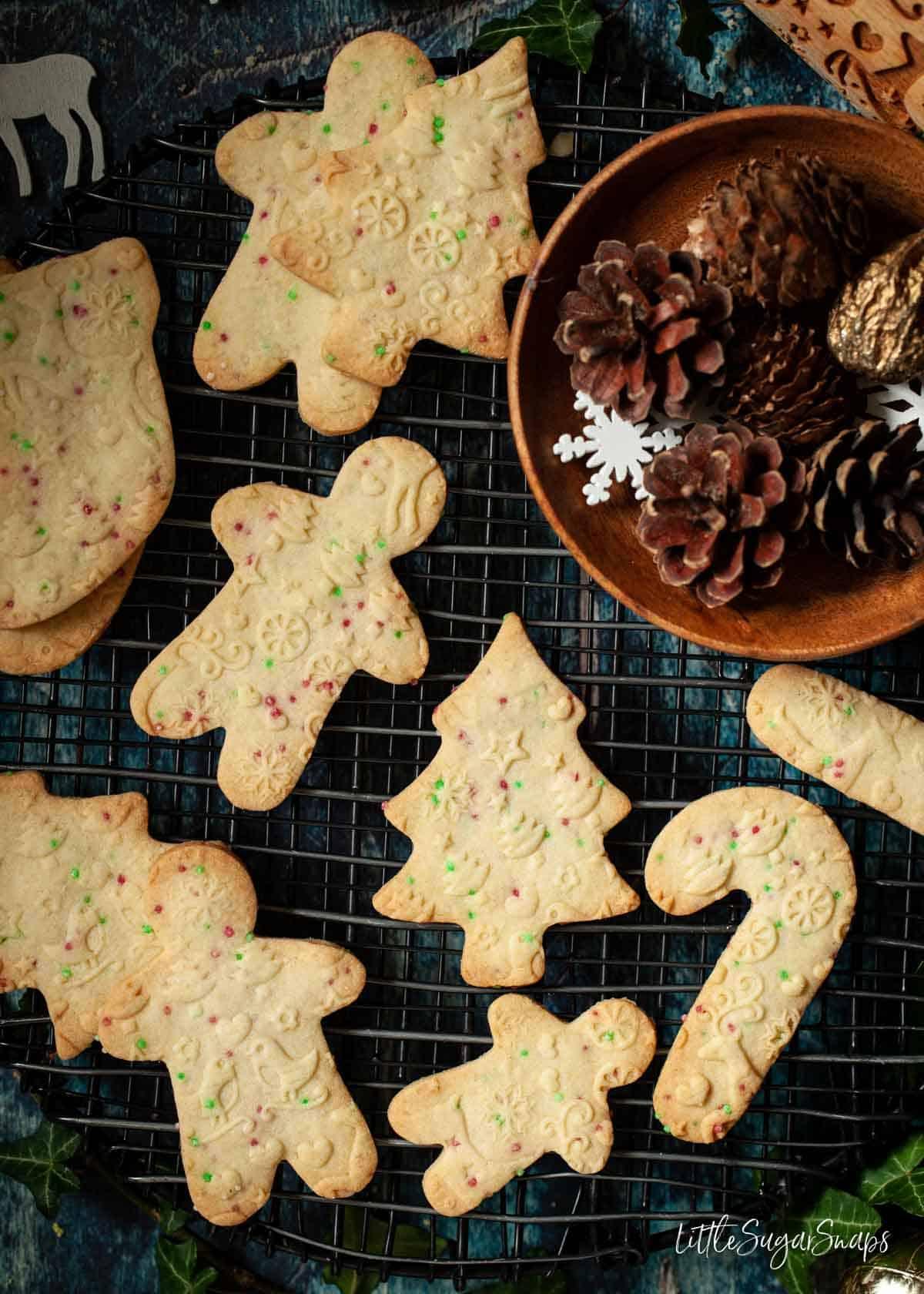 Embossed Christmas shortbread cookies with sprinkles