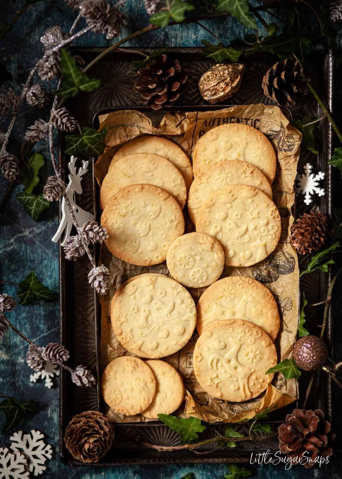 Embossed lemon shortbread cookies on vintage baking trays