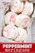 Peppermint meringue sandwiches with text overlay
