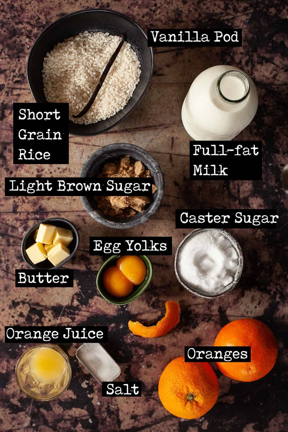Ingredients for stovetop rice pudding with oranges