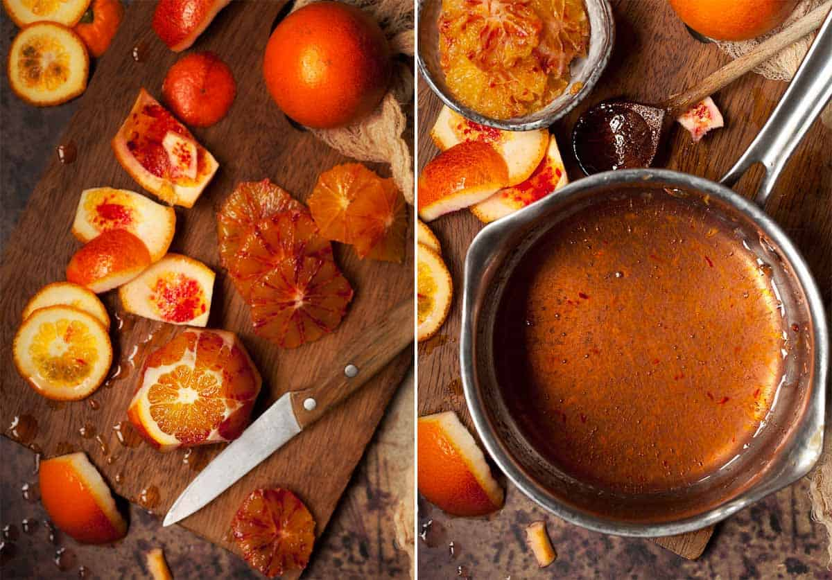 Collage of images showing oranges being cut and caramel in a pan