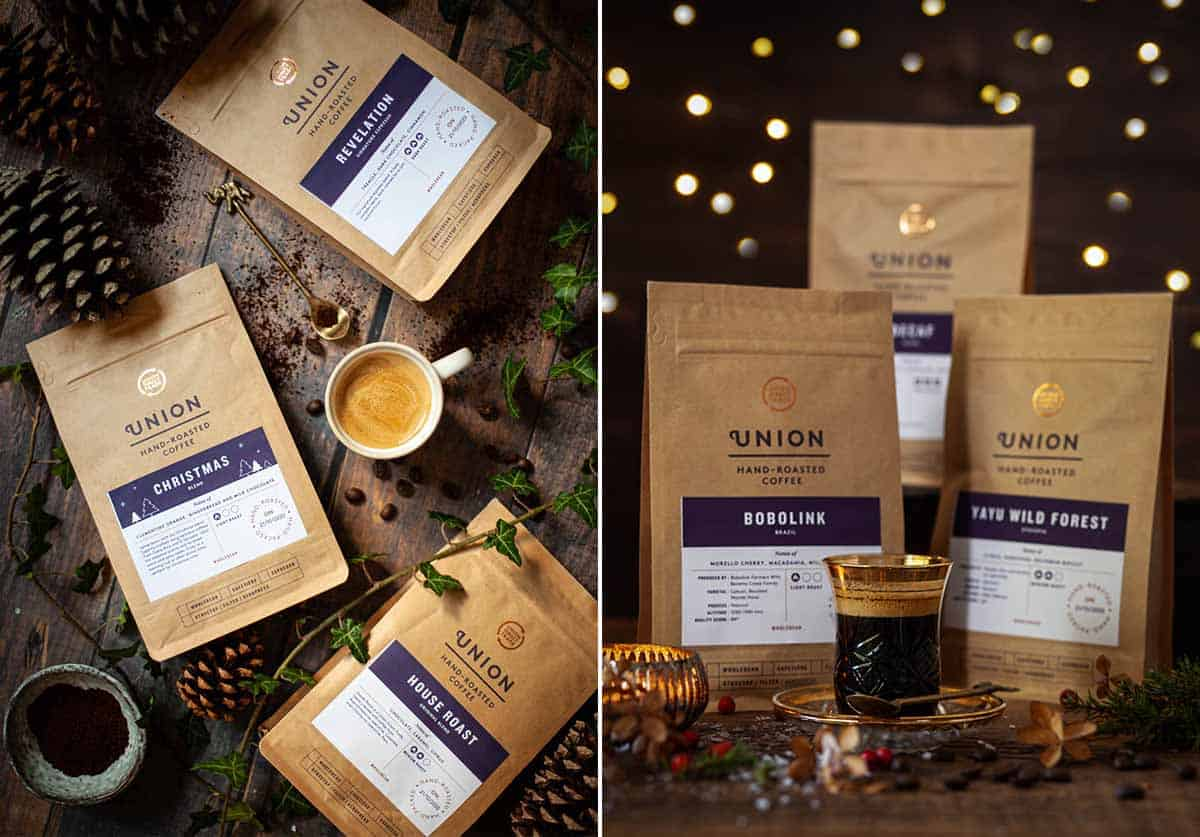 Collage of images featuring espresso coffee and packs of coffee