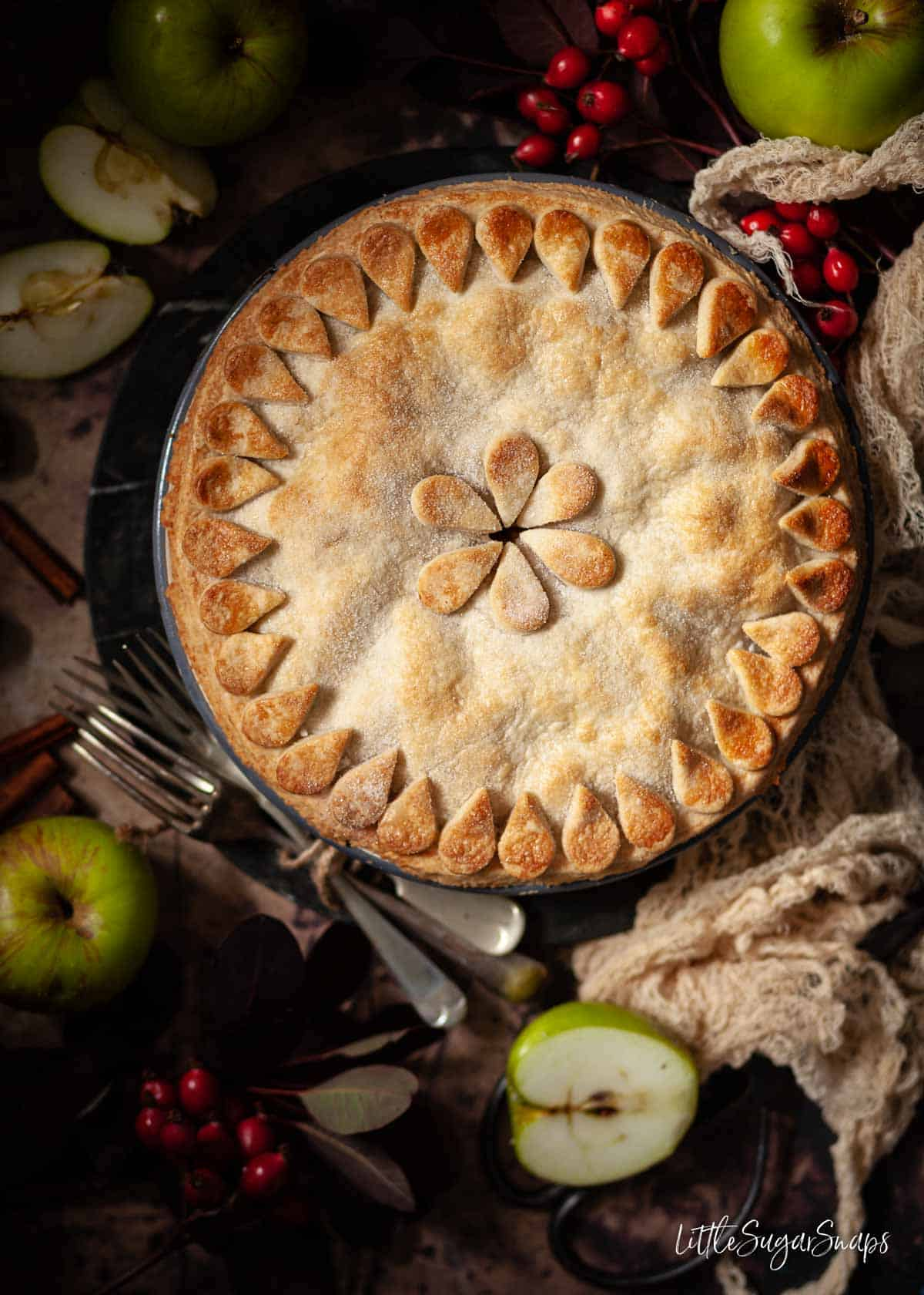 An uncut vegan apple pie with pastry decoration on top