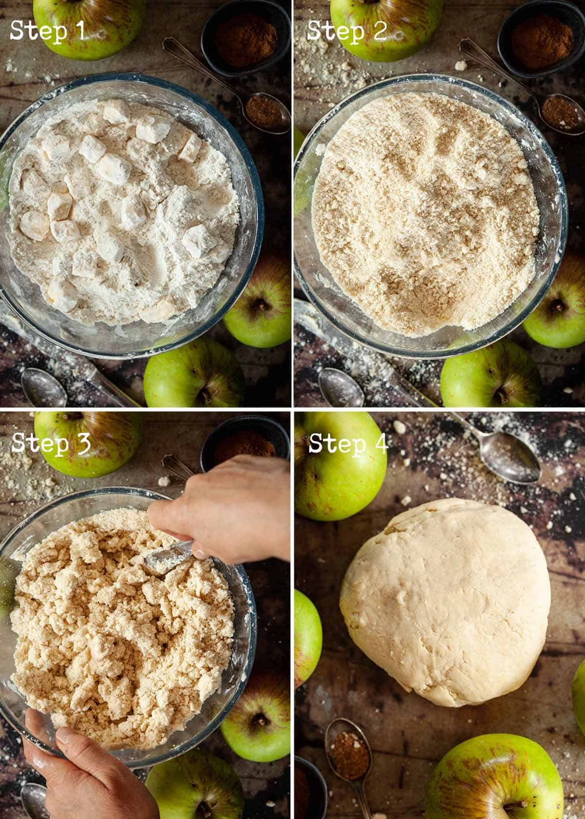 Step by Step collage for making pastry by hand