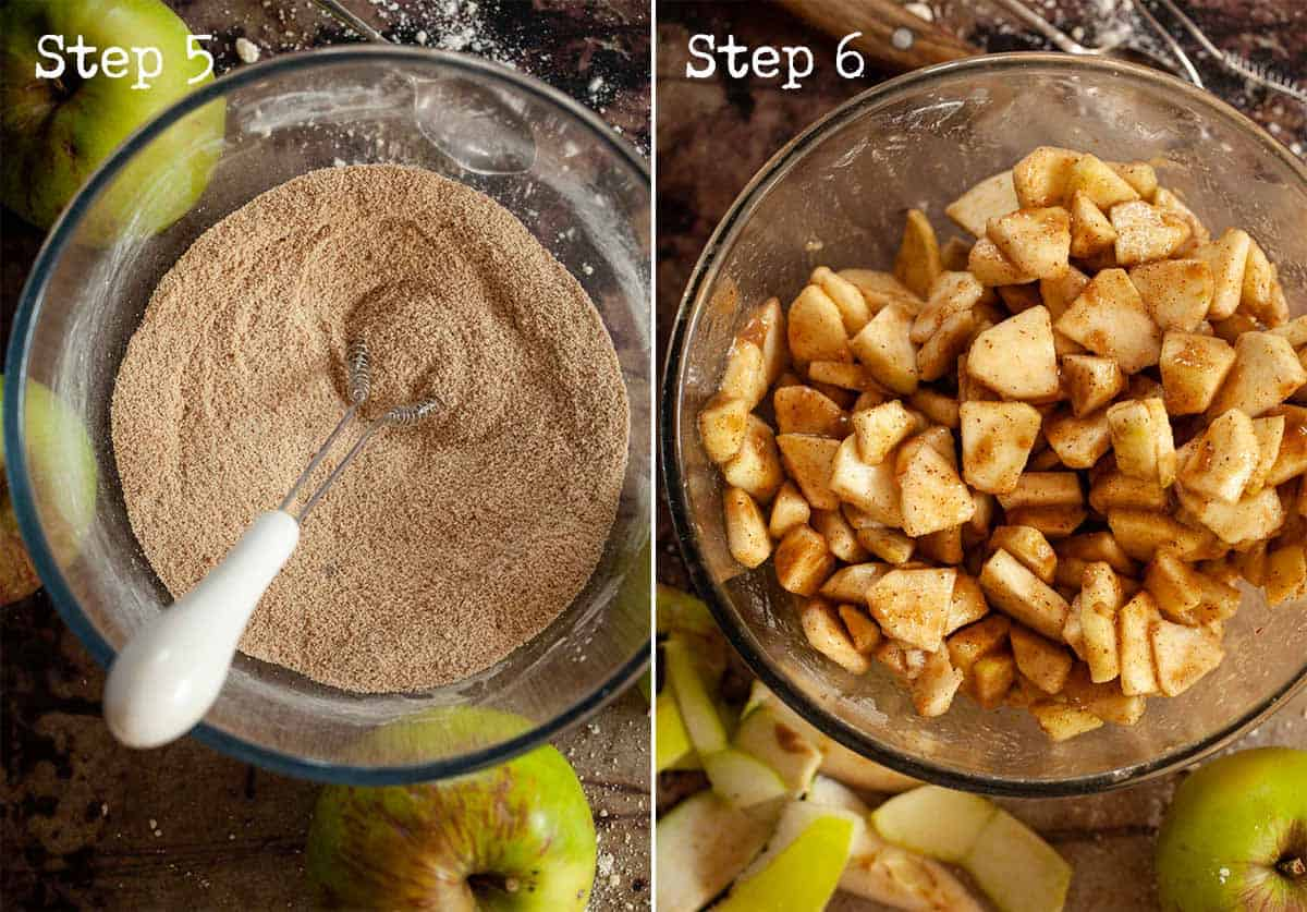 Collage for making a fruit pie filling - mixing fruit with sugar and flour