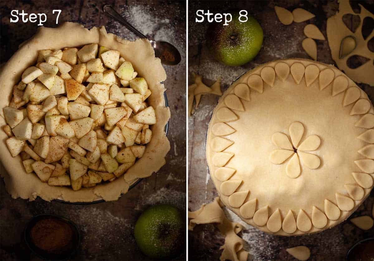Collage of images for assembling and decorating a fruit pie
