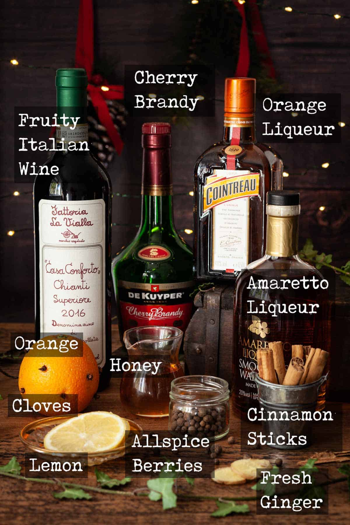 Ingredients for mulled wine with text overlay