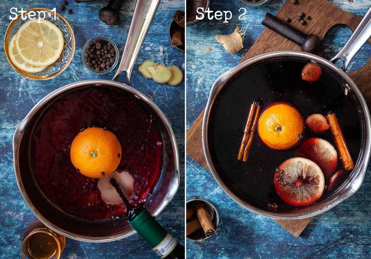 Step by Step images - making vin brulé