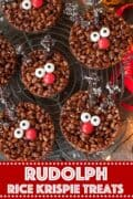 Christmas Rudolph Rice Krispie Treats with text Overlay