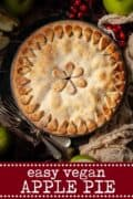 vegan apple pie with text overlay