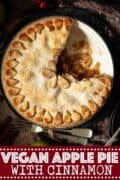 A cut into apple pie with text overlay
