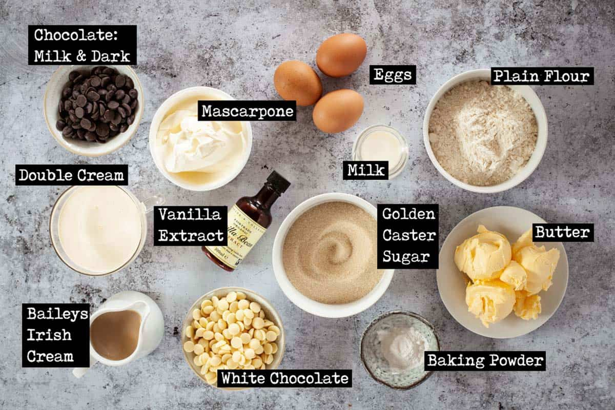 Ingredients for a white chocolate baileys cake with text overlay