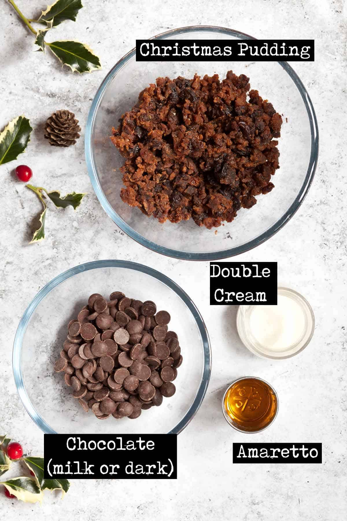 Ingredients for Christmas pudding chocolates with text overlay