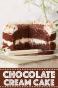 chocolate cream cake with text overlay