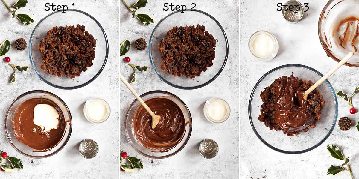 Step by Step image collage for making truffles with leftover Christmas pudding