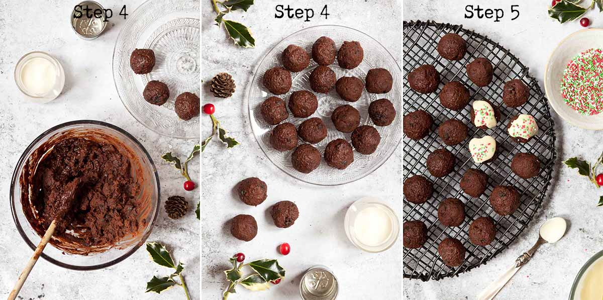 Step by Step image collage for making homemade festive truffles