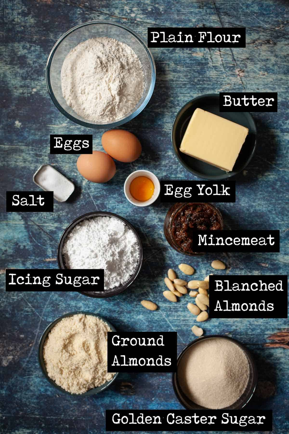 Ingredients for frangipane mince pie with text overlay