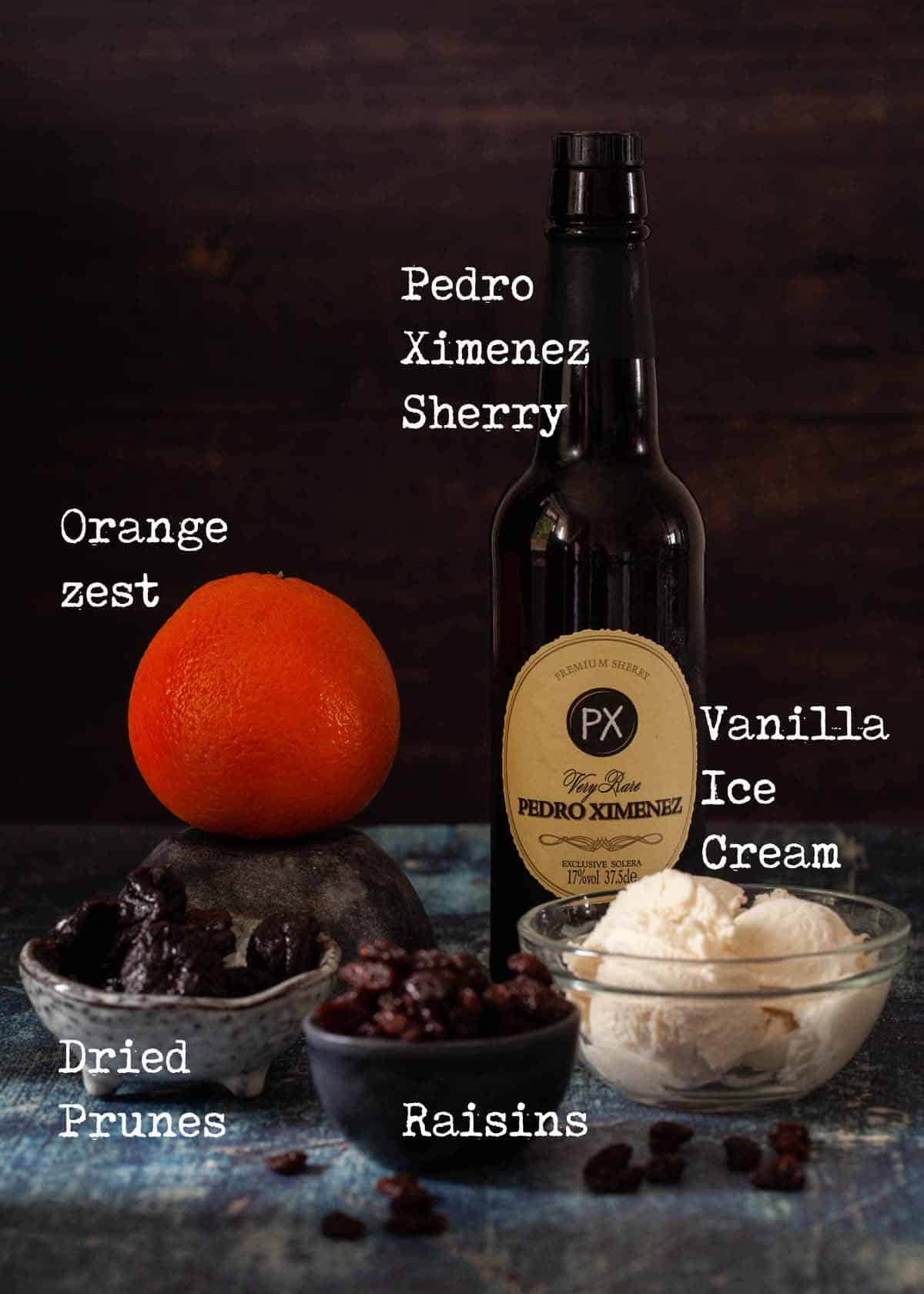 Ingredients for a sherry affogato recipe with text overlay