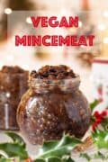 A jar of mincemeat with text overlay