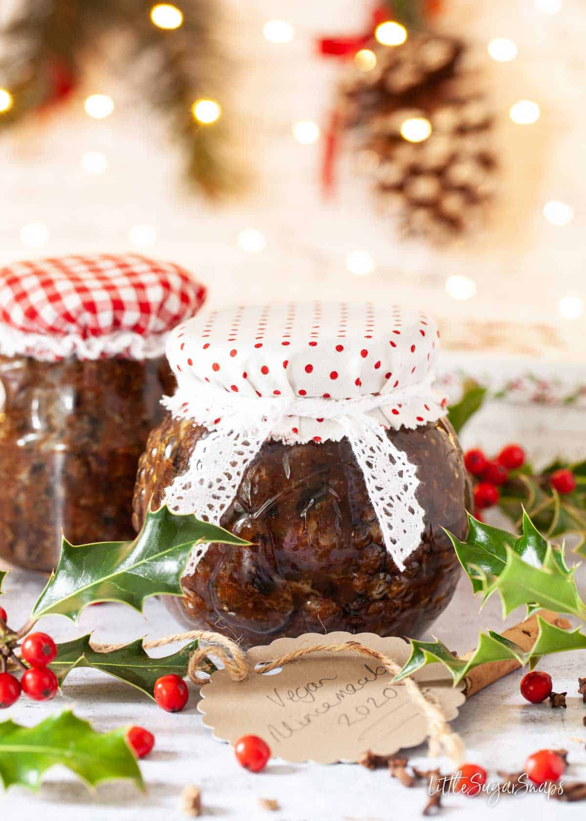 Homemade vegan mincemeat in jars dressed up for gifting