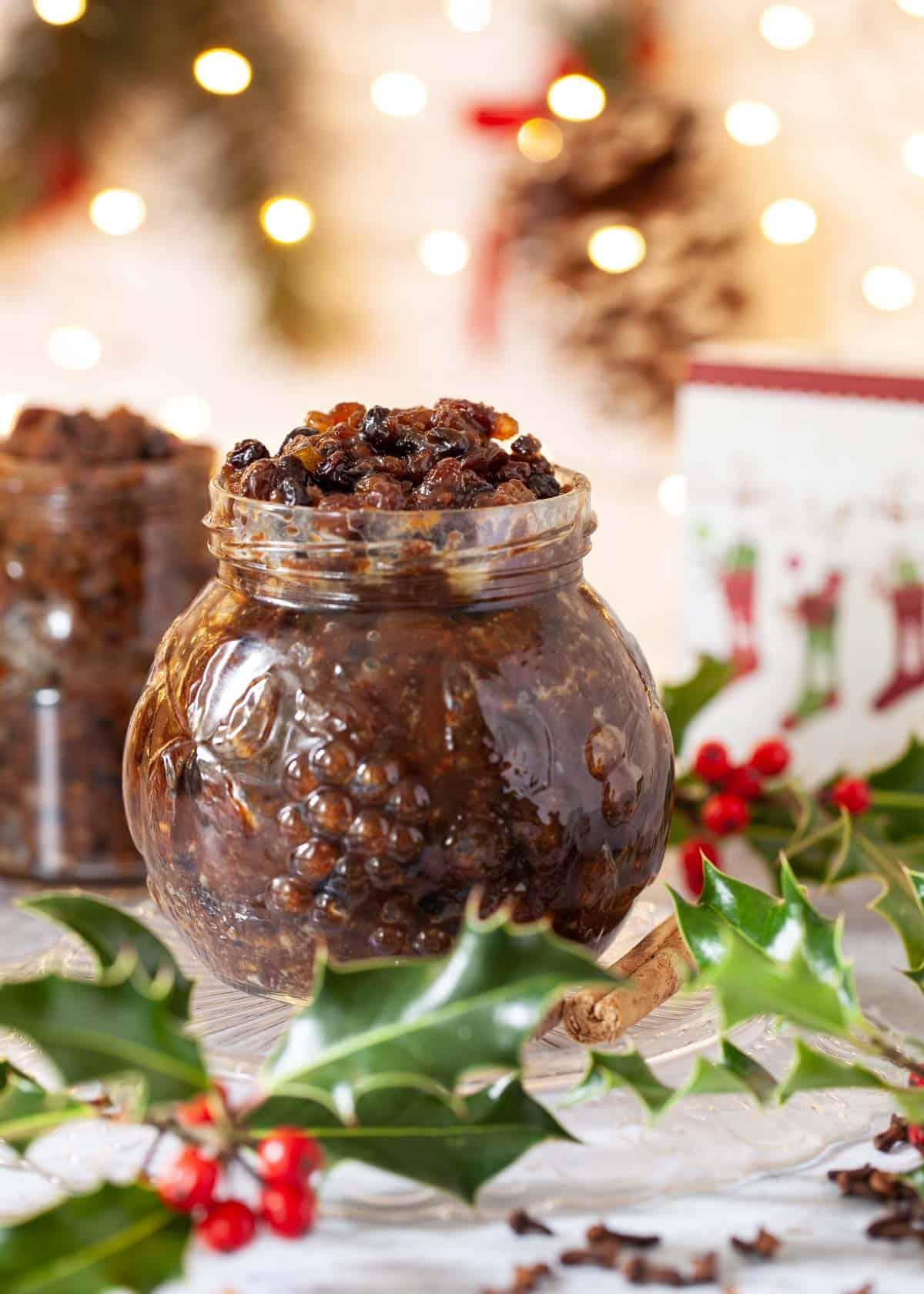 Homemade vegan mincemeat in an open jar