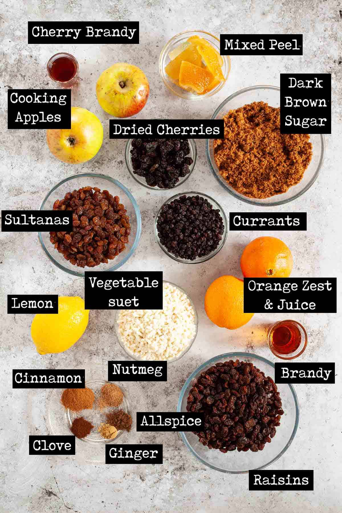 Ingredients for Mince pie filling with text overlay