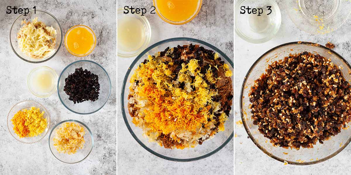 Step by step collage of images for paming Christmas mince pie filling