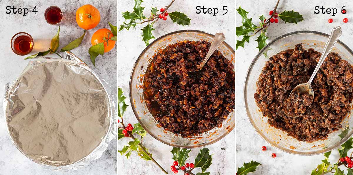 Collage of images showing the making of filling for vegan mince pies