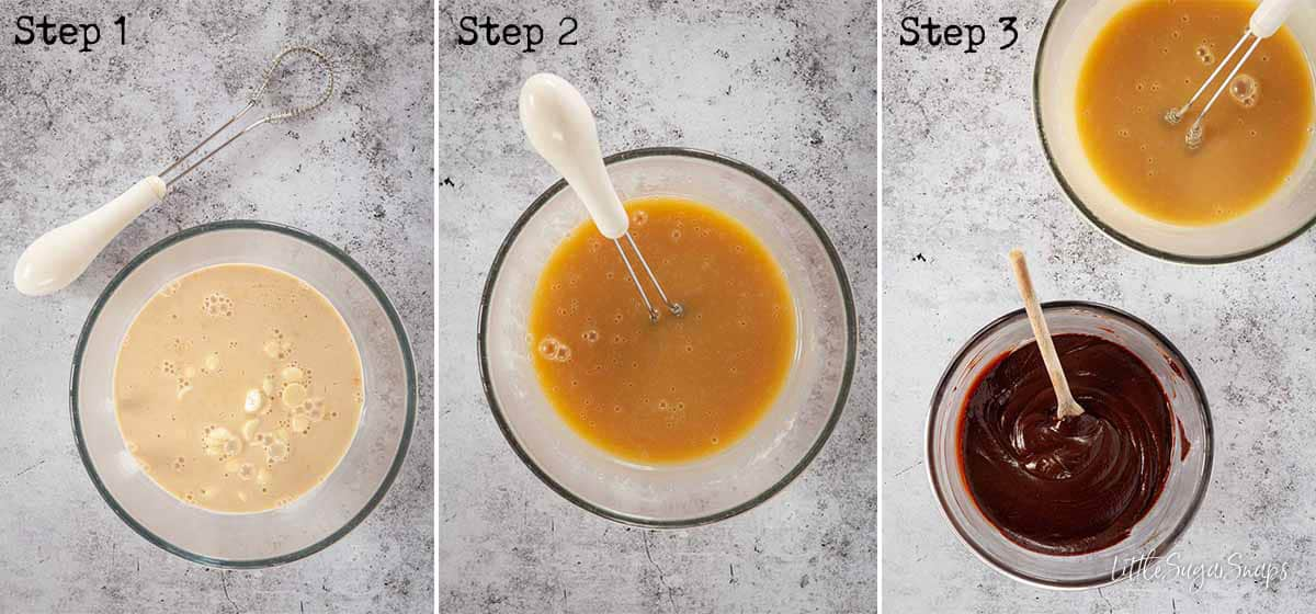 Step by Step image collage: making white and dark ganache
