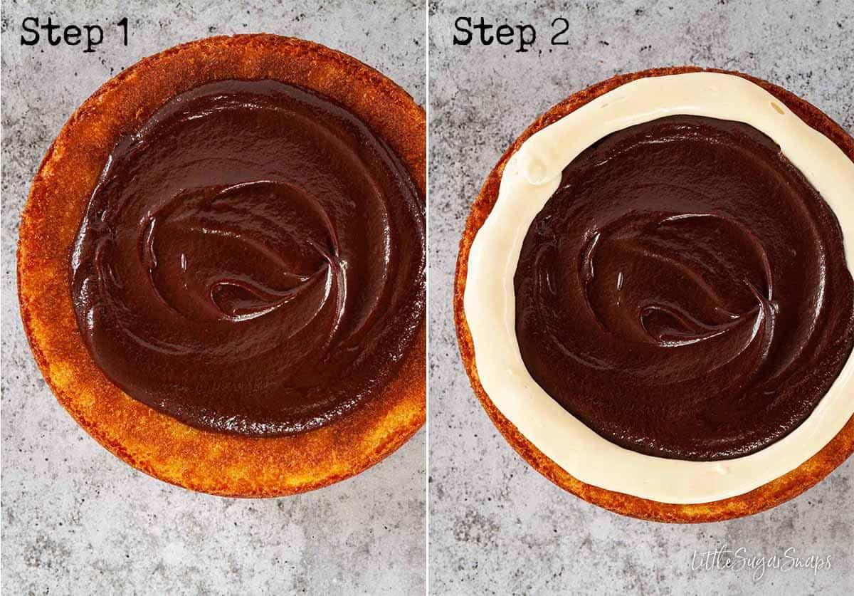 Decorating a cake with ganache of mascarpone frosting
