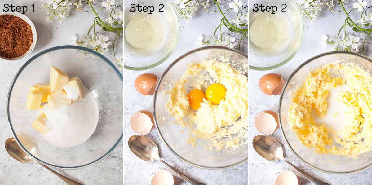Making cake batter by creaming and beating in eggs - step by step image collage