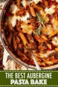 close up of aubergine pasta bake with text overlay