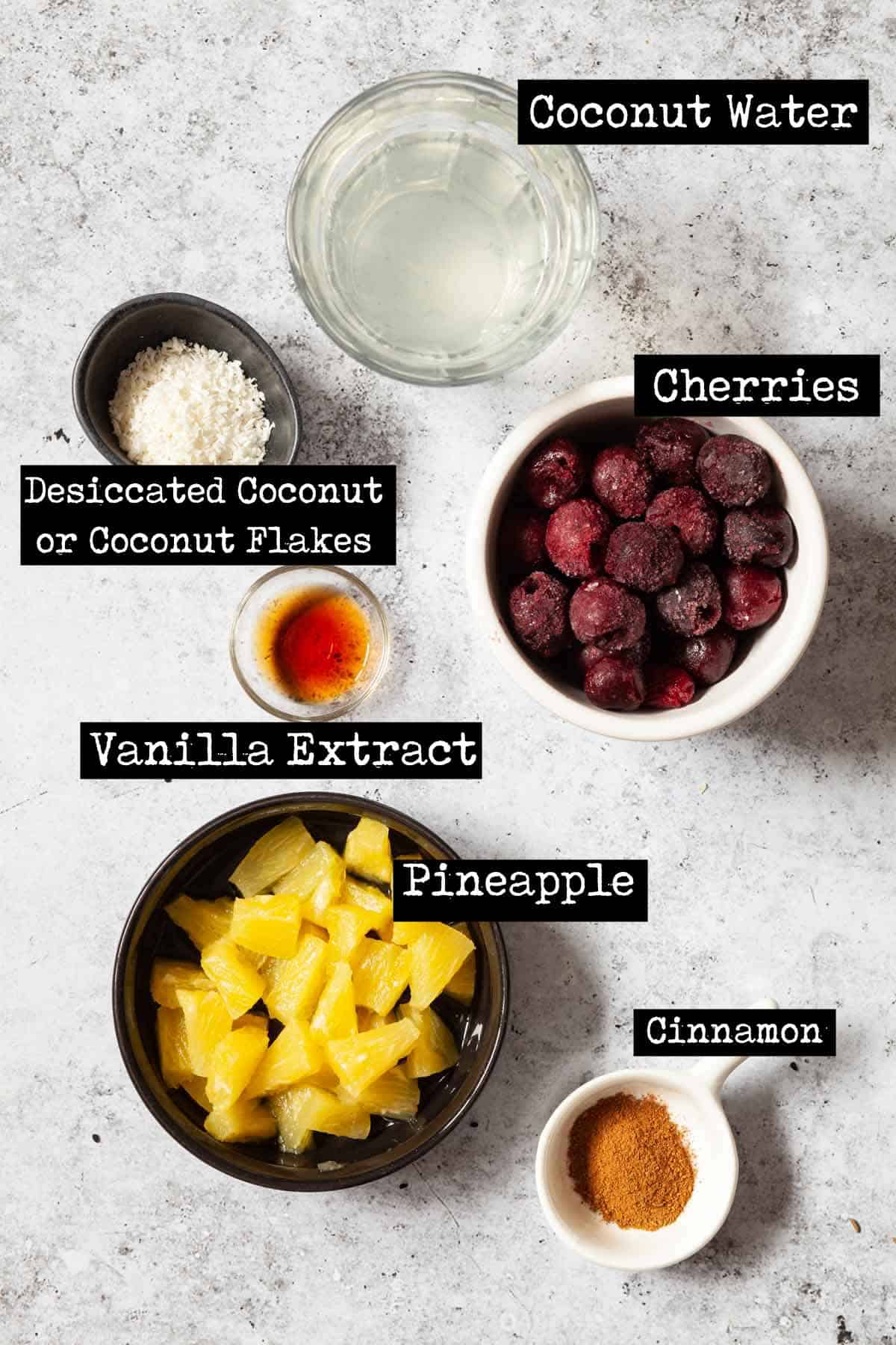 Ingredients for a blended fruit drink with text overlay