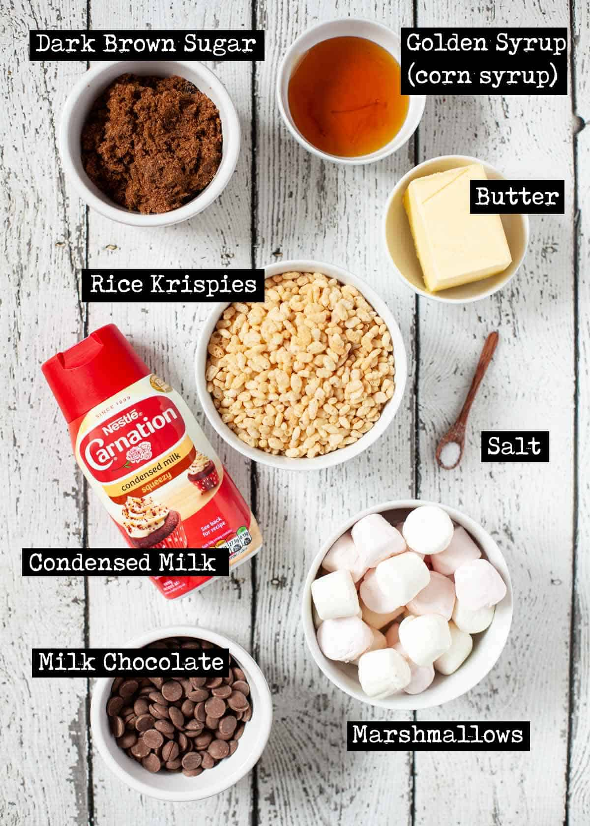 Labelled ingredients for chocolate caramel rice krispie treats