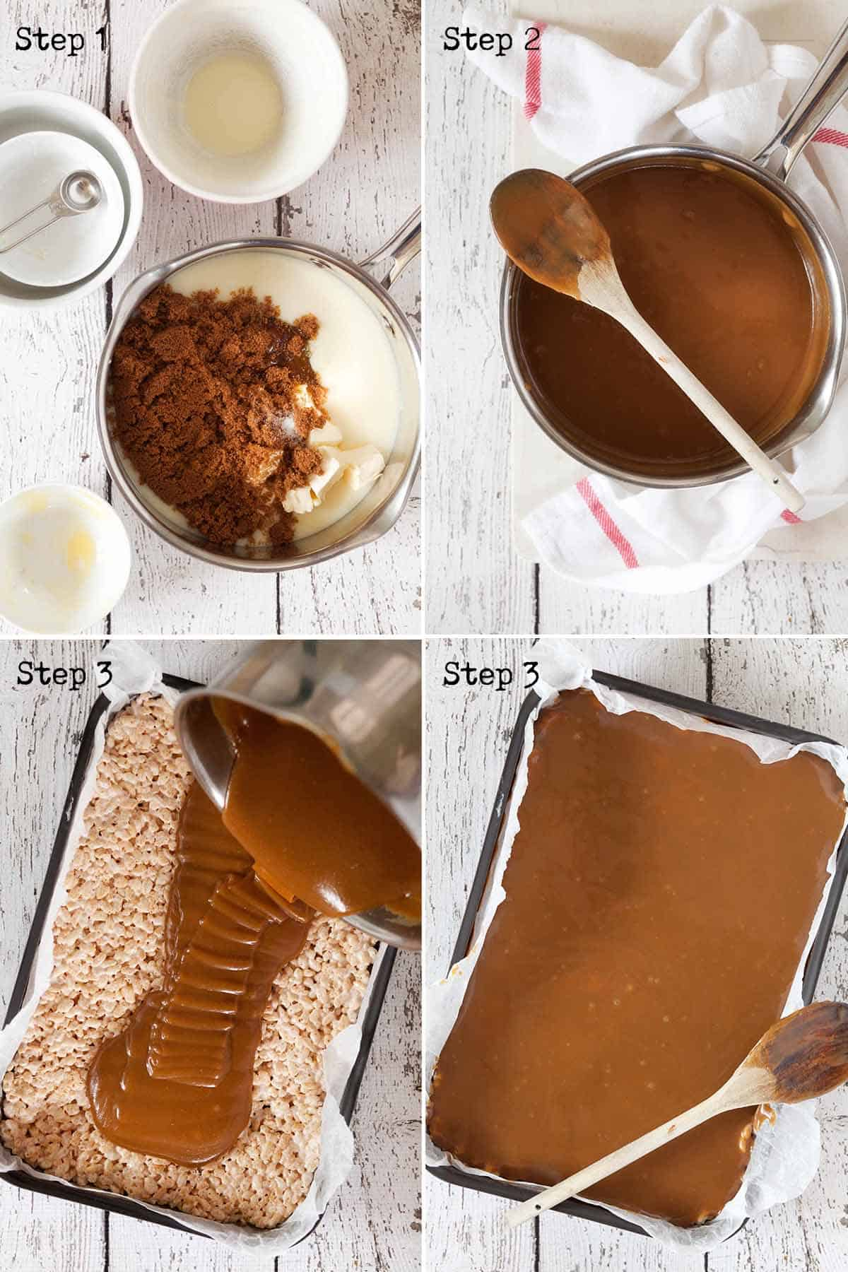 Collage of images showing caramel being made and poured into a baking tin