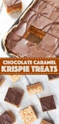 CHOCOLATE CARAMEL RICE KRISPIE TREATS with text overlay