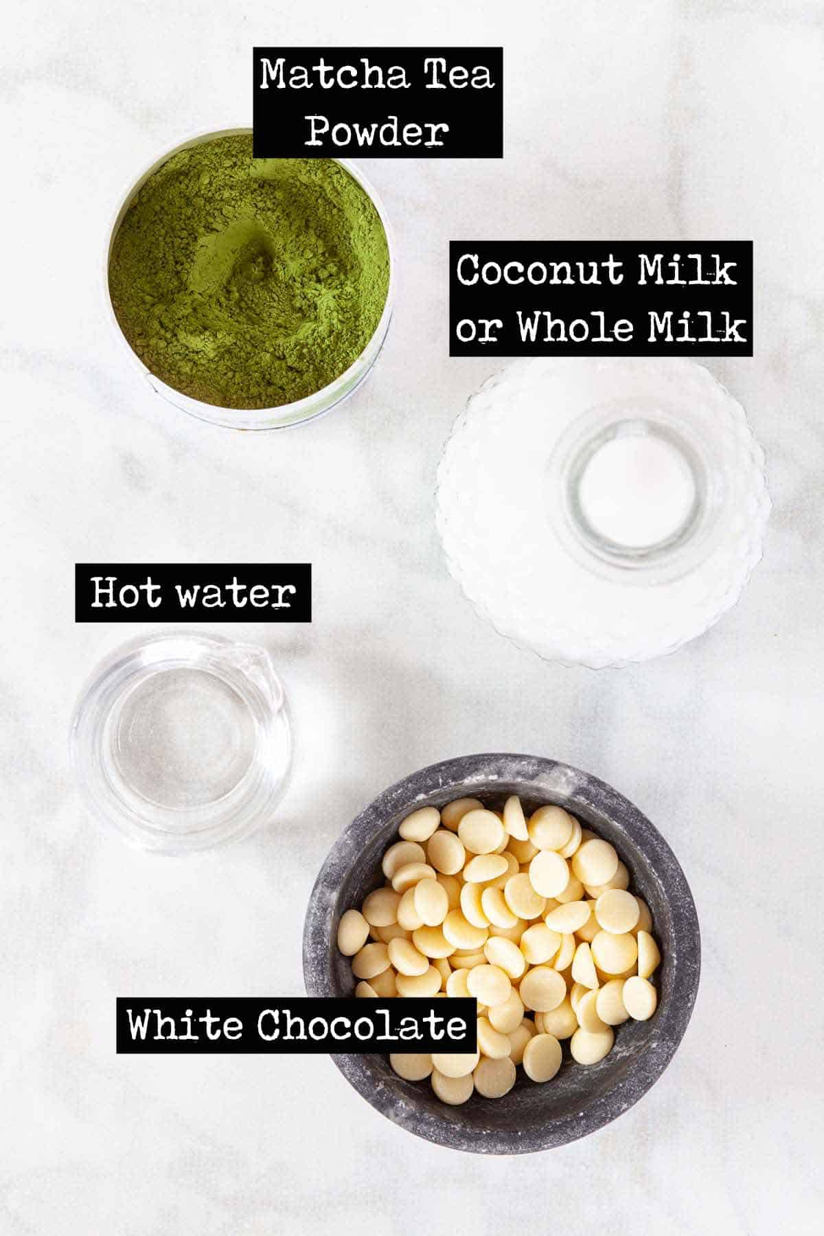 Ingredients for green tea drink with text overlay