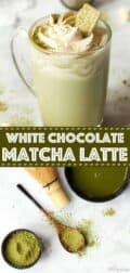 White chocolate matcha latte with text overlay