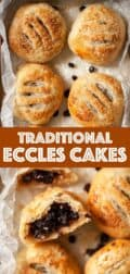 Collage of Eccles cakes photos with text overlay