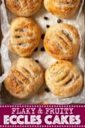 Eccles cakes on waxed paper with text overlay