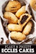 Eccles cake in a tin with text overlay
