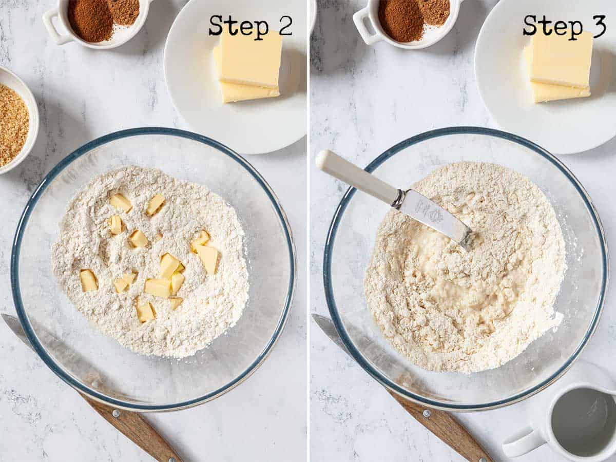 Step by step images - mixing pastry in a bowl