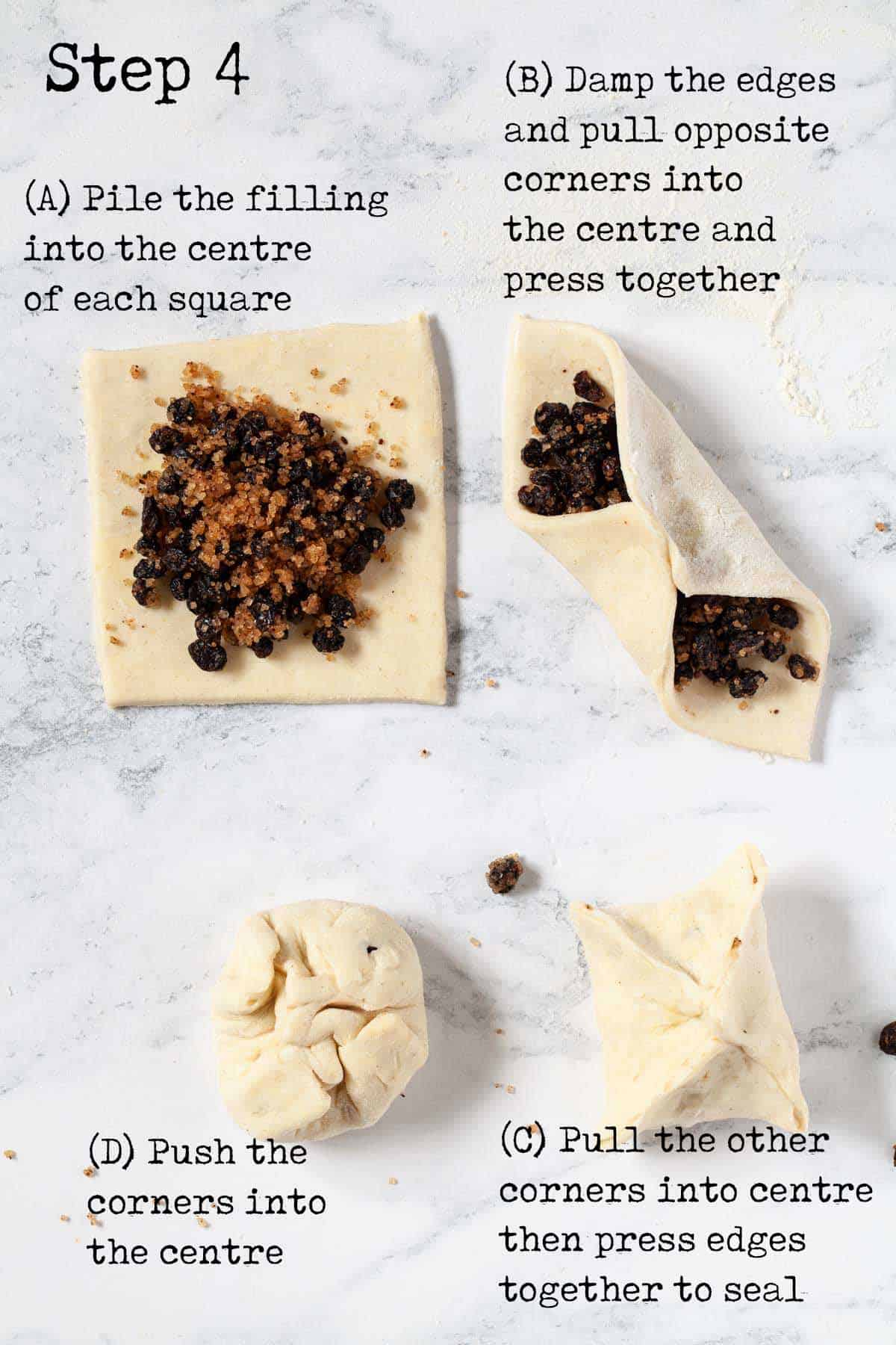 Step by step image with text overlay - folding pastry around a filling