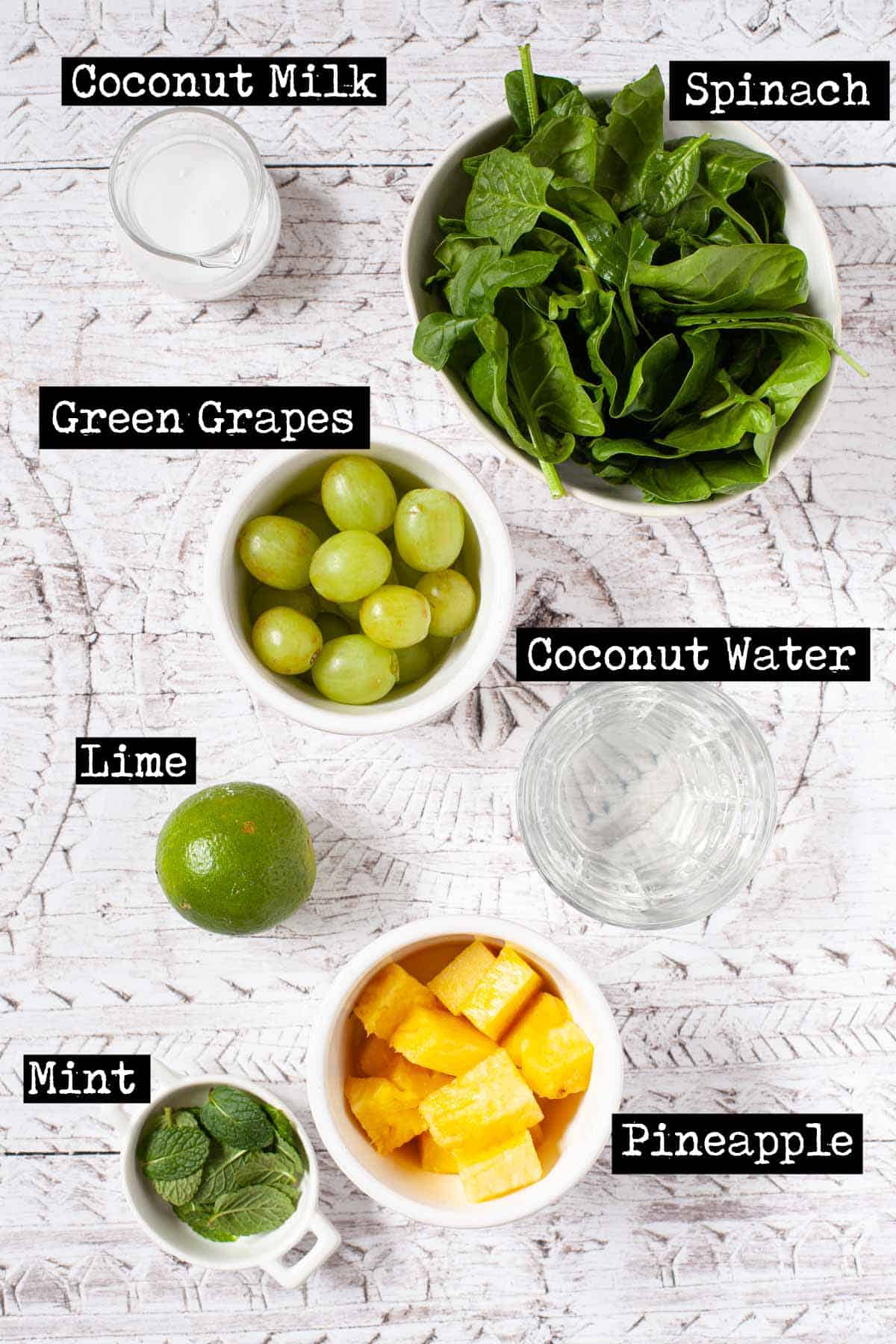 Labelled ingredients for a fruit and spinach drink