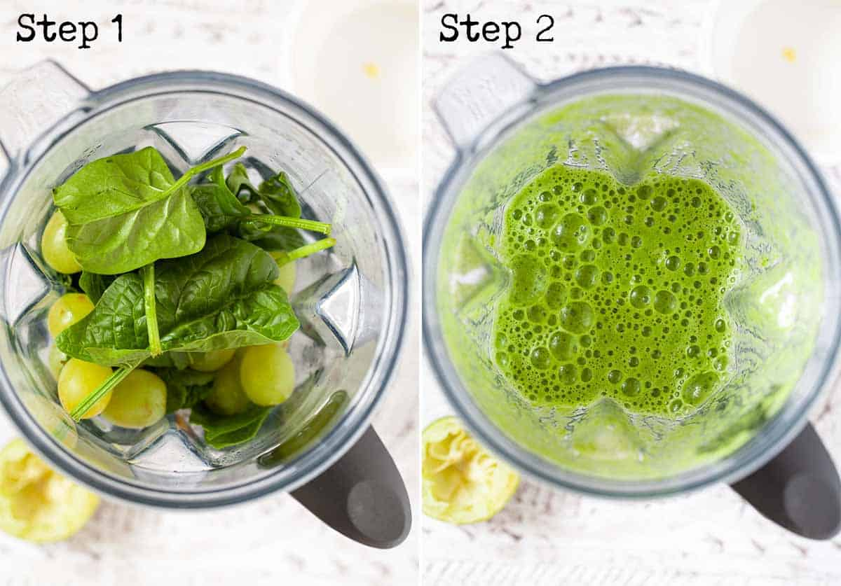 Collage of 2 images showing whole ingredients in a blender and processed ingredients